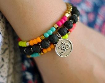 Om Charm Mala Bracelets - Cemstone Stacking Set of 3 Bracelets - Lava Bracelet - Neon Boho Jewelry Colorful