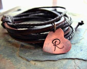 Personalized Leather Initial Bracelet, Chocolate Leather Wrap Bracelet, Leather Boho Cuff, Initial Bracelet, Rustic Copper Heart