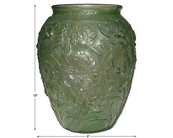 "Consolidated La Fleur / Poppy Green Wash 10"" Vase - Enormous !"