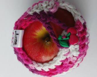 Apple cozy Fruit cozy Handmade Crochet - apple cosy - Lunch bag buddy- Pomme et cerises d'Amour