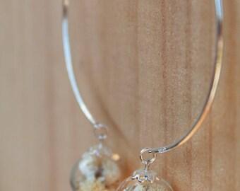 Bracelet/Bangle/Bridal, 925 sterling silver, white flower glass bead/ball