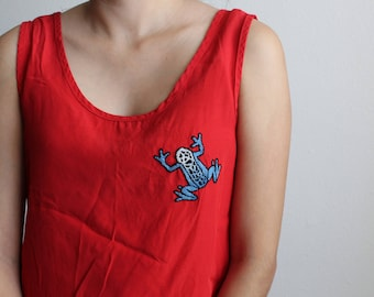 Embroidered frog shirt, up-cycled, sleeveless, red, small