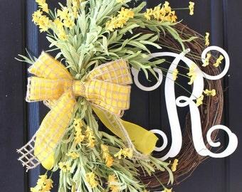 Grapevine Wreath for door - Summer Celebrations - Housewarming gift - Door Wreath Yellow Floral Wreath