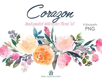 Digital Clipart- Watercolor Flower Clipart, peonies Clip art, Floral Bouquet Clipart, wedding flowers clip art- Corazon 6 Bouquets