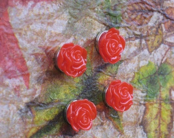 Magnet set, floral cabochon mangets, set of 4 flower fridge magnets with rare earth magnets to add to your Jensdreamdecor Magnet Board