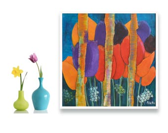 Tulips canvas, Abstract tulips painting, Floral canvas painting, Tulip wall decor, Original mixed media, Original artwork, Acrylic painting