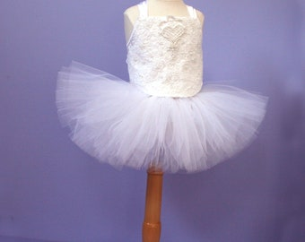 Tutu Set #503,  Infant Crop Top upcycled from a vintage wedding gown, Baby Photo Prop