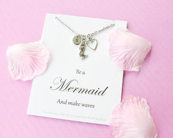 Mermaid necklace, Mermaid jewellery, siren necklace, Message card necklace,mermaid jewelry, mermaid gift,,MCNmermai01xmas gift