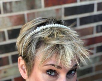 Pearl & Rhinestone Wedding Headband, Wedding Headband, Pearl Hair Accessory, Pearl Headband, Bridal Headband, Wedding Halo, Bridal Halo
