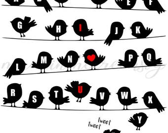 ABCs Little Birdies, Birds, Nursery, I Love You, Alphabet, SVG File, Digital Print, PNG, PDF, Cut File, Silhouette, Cricut