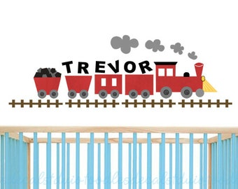 Train wall decal/ Train wall art/ Locomotive wall decal/ Red train wall decor/ Choo Choo train art