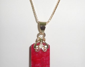 "Natural 10ct Earth Mined Emerald cut Red Ruby gemstone,  Pendant, SOLID 14kt yellow gold  20"" Box Chain 4.2grams"