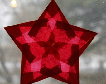 Window Star in Red Translucent Paper that is Made in the USA