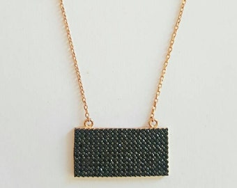 rectangle plate necklace, black zircons, 925 sterling silver