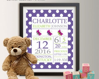 Birth announcement wall art, baby birth stats, birth stats wall art, baby subway art, personalized baby stats, birth art, baby girl gift 038