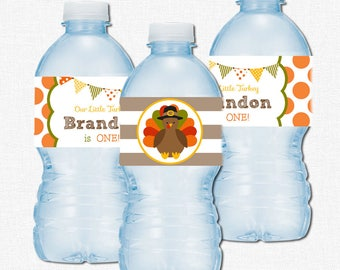 Turkey Water Bottle Labels, Fall Party Decorations, Little Turkey Birthday, Printable Bottle Wraps
