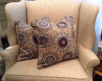 """Gorgeous Blue, White, Beige, and Tan Woven Medallion Custom Decorative Designer Pillows 20"""" x 20"""" - Each Sold Separately"""