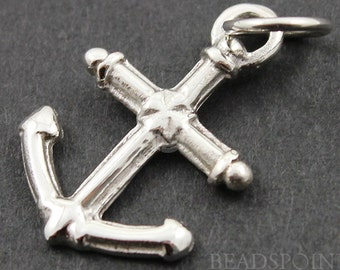 Sterling Silver Anchor Charm / Pendant with Jump Ring, Sports Jewelry Component, (SS/CH10/CR21)