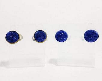 The Druzy Clip On Earrings in Royal Blue   Sapphire Druzy Earrings   Sapphire Geode Jewelry   Blue Druzy Clip Ons   Druzy Clip On Earrings
