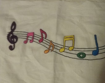 Rainbow Music Notes Pillow