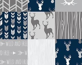Baby Crib Quilt, Baby Boy Quilt, Baby Quilt Patchwork, Woodland Baby Quilt, Baby Boy Nursery Blanket, Little One, Navy Gray Grey Deer Minky