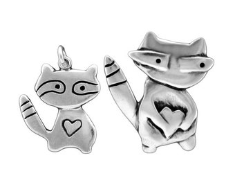 Mother Son Raccoon Necklace Set - Set of 2 Sterling Silver Raccoon Pendants for New Mom or Mother's Day
