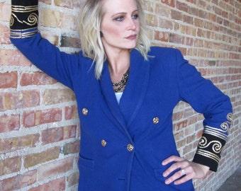 Cobalt Blue Blazer with Gold Detailing