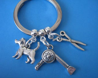 Dog Grooming Keyring Dog Groomers Keychain Pet Grooming Hairdryer Scissors Dog Charm Gift for a Dog Groomer Gift