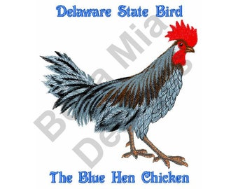 Chicken - Machine Embroidery Design, Delaware State Bird, Blue Hen Chicken