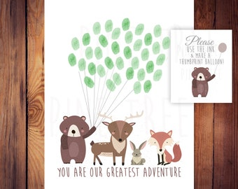Printable Instant Download -Woodland Animals with Balloon Strings - Thumbprint Guest Book for Woodland Baby Shower -DIGITAL FILE ONLY
