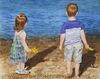 Beach Art, Beach Painting, Beach Decor, Boy Girl Decor, Children on the Beach Art, Beach Art Print, Coastal Art, Nursery Decor, Child Room