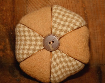 Beige and Houndstooth, Two-Wool Hexagon Pincushion