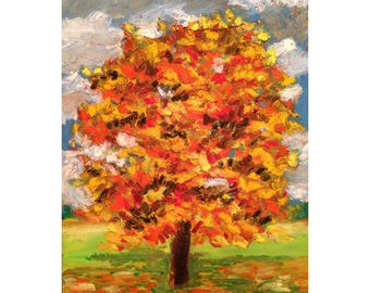 Colorful Tree is a small oil pastel filled with the brilliant beauty of autumn.