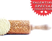 Rolling Pins engraved - FLOWERS & HEARTS embossing rolling pin. Valentines gift romantic pattern.