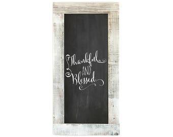 Barnwood Framed Chalkboard   24 x 12 Inch - Whitewash