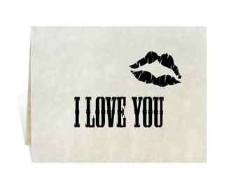 I Love You clipart black printable card for men husband birthday, anniversary, valentines fathers day, vintage-style romantic lipstick kiss