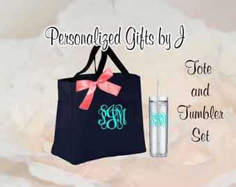 10 Personalized Bridesmaid Tote Bags and Tumblers, Bridesmaids Gifts, Bridal Party Gifts, Wedding Gift Sets, Monogrammed Totes and Tumblers