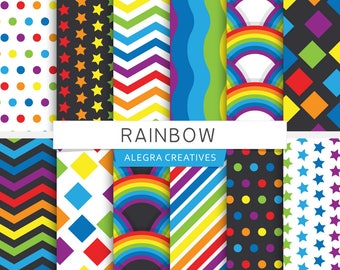 Rainbow digital paper, colorful, 7 colors, rainbow and black, chevron, polka dot, stripes, stars, scrapbook papers (Instant Download)