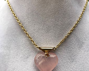 pink quartz heart with swarosky crystal