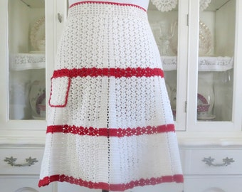 Vintage Crocheted Half Apron, Red and White Waist Apron,  Hostess Apron w Small Front Pocket,  Vintage Linens