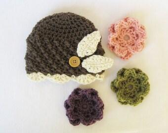 CROCHET PATTERN Interchangeable Beanie & Flowers (5 sizes included) newborn Baby girl hat crochet flowers infant girl hat flower hat