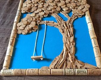 Cork art tree with swing
