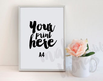 A4 silver metal frame / Styled stock photography / Instant download /