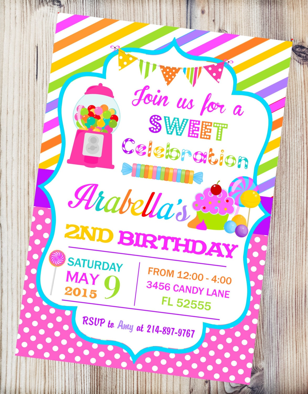 Candyland Printable Invitation Candy Shop Birthday