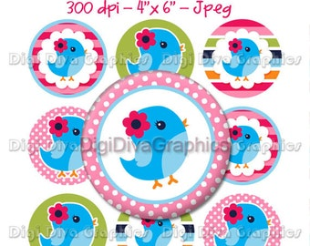 Sweet Blue Bird Bottle Cap Images 1 Inch Circles Digital JPG - Instant Download - BC1026