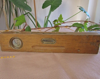Vintage Wood Level, Wooden Spirit Level, Primitive Wooden Level Tool, Rustic Carpenters Tool, Antique Wood Level, Bubbles Tool
