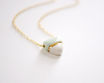 Small BB Soft Triangle Necklace (b) - Gold - Porcelain Jewelry - 22k Gold - 14k gold filled chain mint
