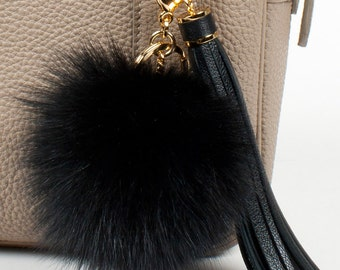 Black Fox fur pompom keychain with black leather tassel, handbag charm, bag charm, tassel keychain, pompom keychain - Black
