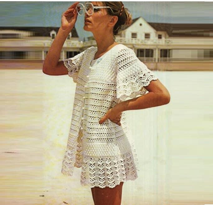 Patron pdf de tejido en crochet vestido para playa