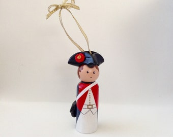 American Revolution Soldier Peg Doll (Ornament)